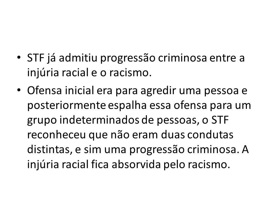 STF já admitiu progressão criminosa entre a injúria racial e o racismo.