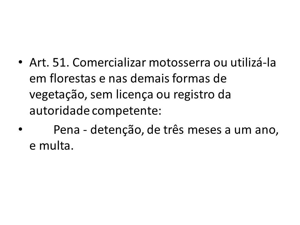 Art. 51. Comercializar motosserra ou utilizá-la em florestas e nas demais formas de vegetação, sem licença ou registro da autoridade competente:
