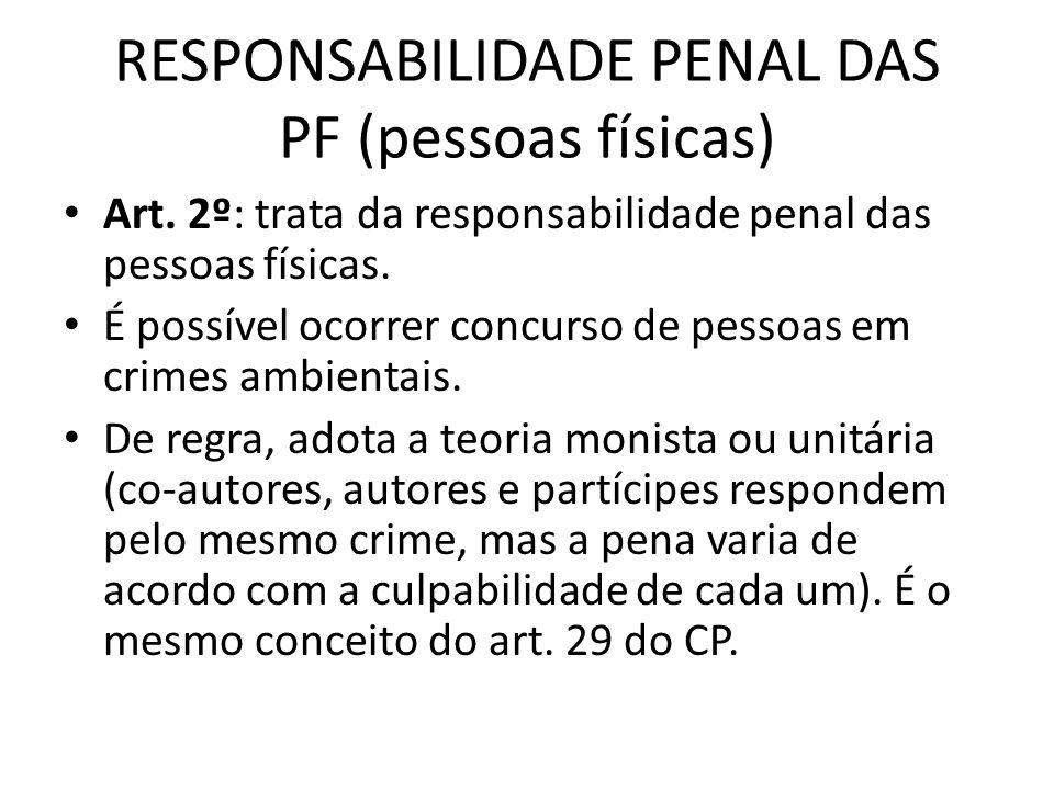 RESPONSABILIDADE PENAL DAS PF (pessoas físicas)