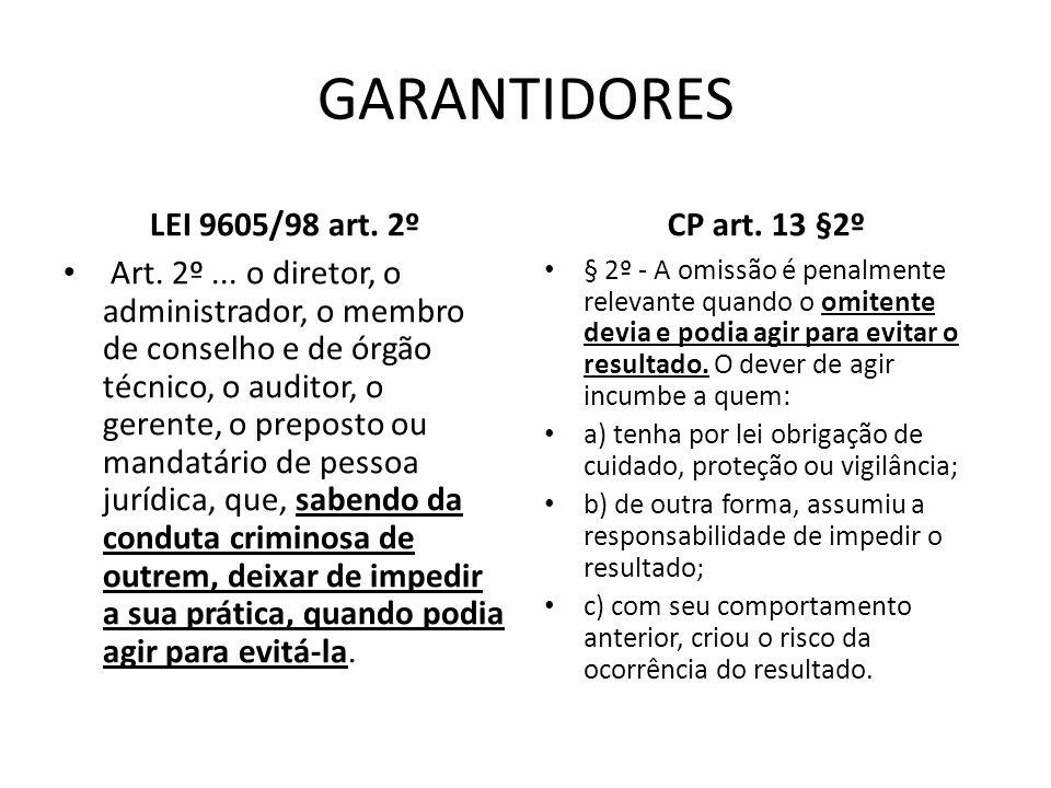 GARANTIDORES LEI 9605/98 art. 2º CP art. 13 §2º