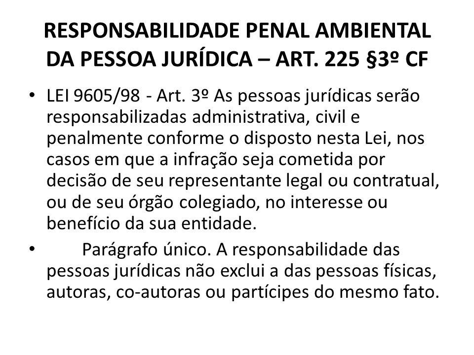 RESPONSABILIDADE PENAL AMBIENTAL DA PESSOA JURÍDICA – ART. 225 §3º CF