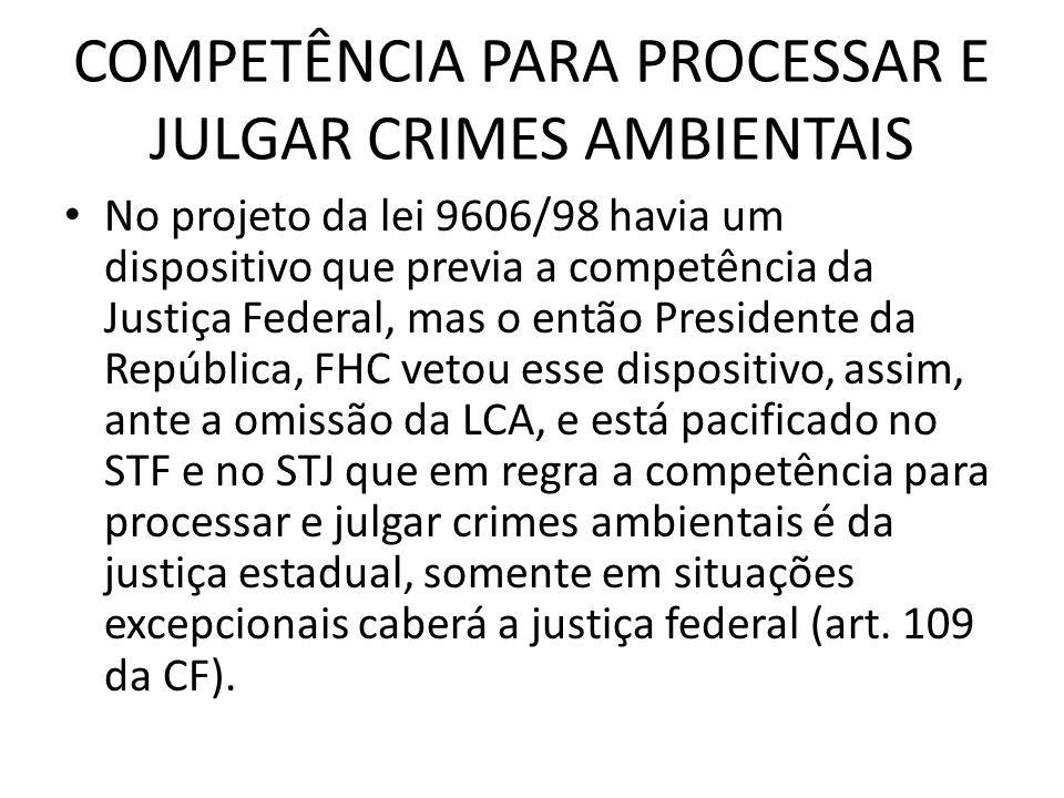 COMPETÊNCIA PARA PROCESSAR E JULGAR CRIMES AMBIENTAIS