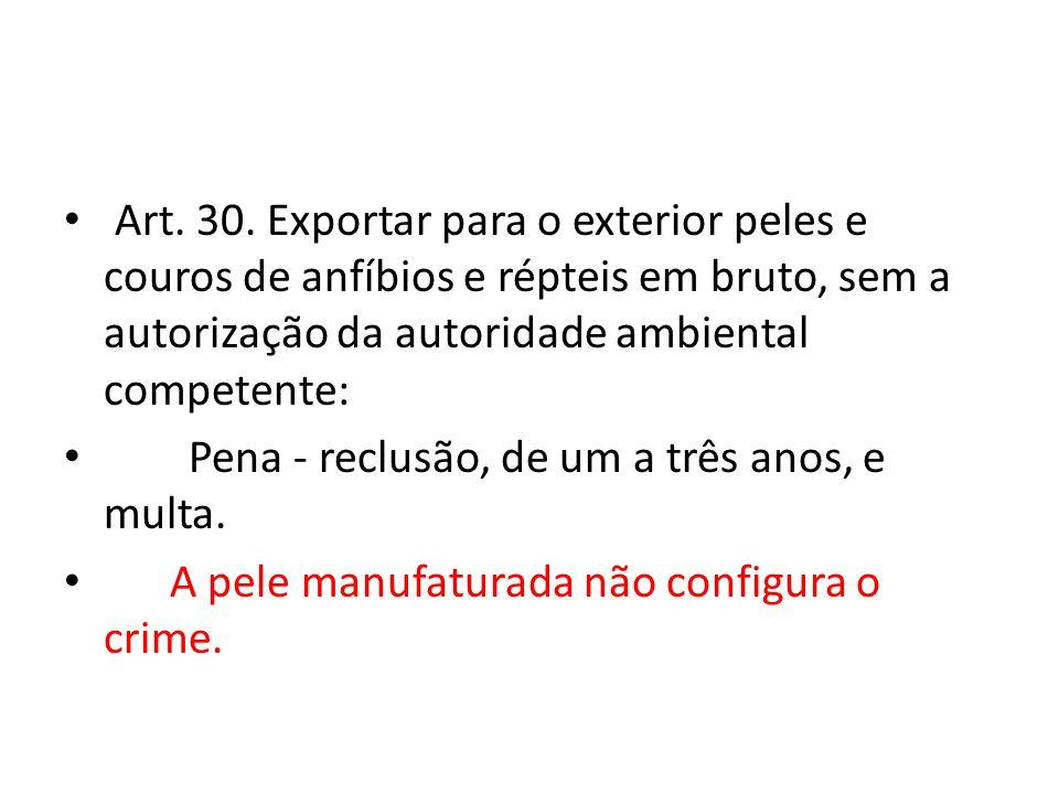 Art. 30. Exportar para o exterior peles e couros de anfíbios e répteis em bruto, sem a autorização da autoridade ambiental competente: