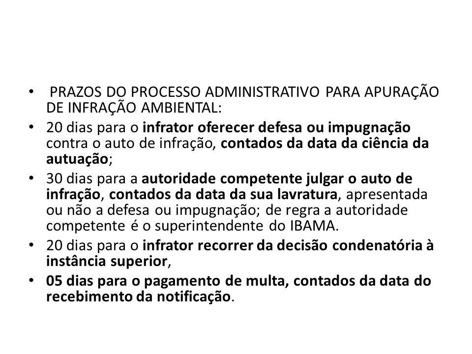 PRAZOS DO PROCESSO ADMINISTRATIVO PARA APURAÇÃO DE INFRAÇÃO AMBIENTAL: