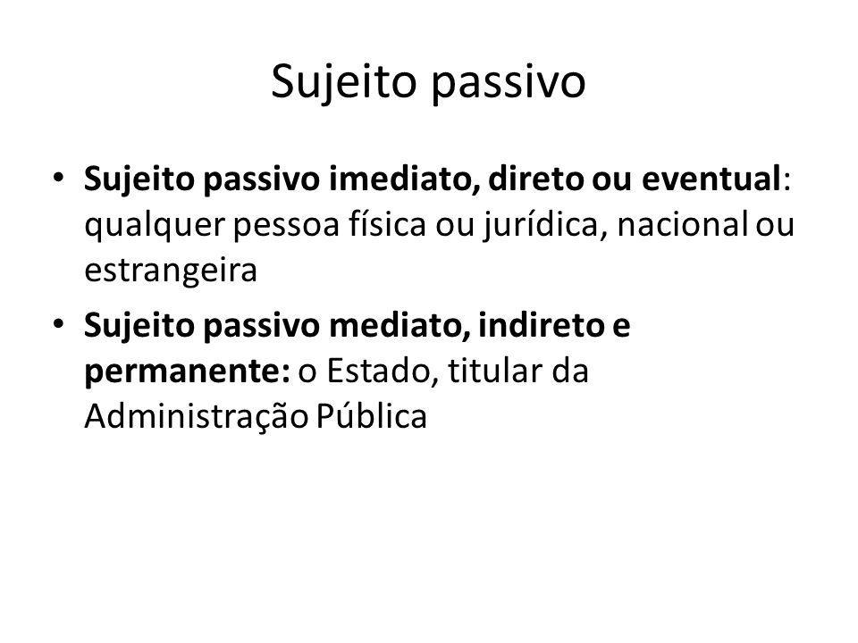 Sujeito passivo Sujeito passivo imediato, direto ou eventual: qualquer pessoa física ou jurídica, nacional ou estrangeira.