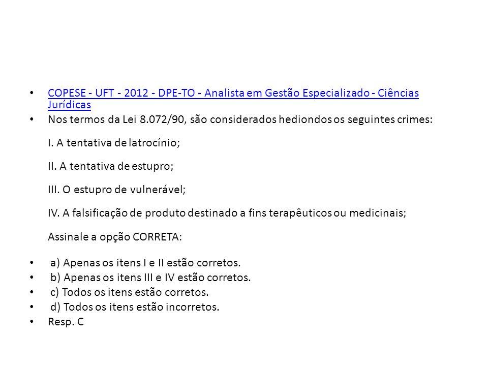 COPESE - UFT - 2012 - DPE-TO - Analista em Gestão Especializado - Ciências Jurídicas