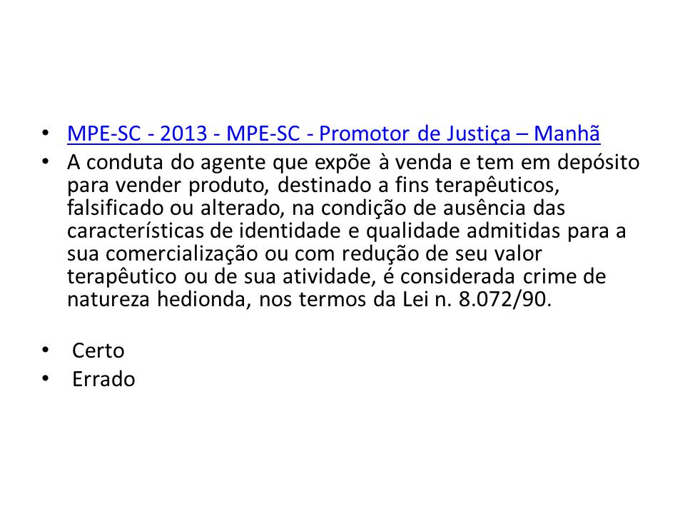 MPE-SC - 2013 - MPE-SC - Promotor de Justiça – Manhã