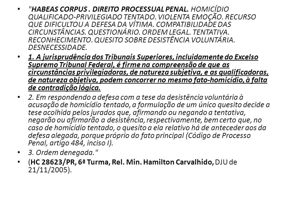 HABEAS CORPUS. DIREITO PROCESSUAL PENAL