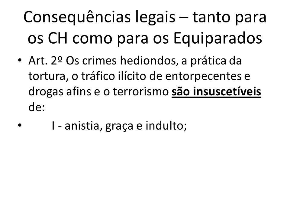 Consequências legais – tanto para os CH como para os Equiparados