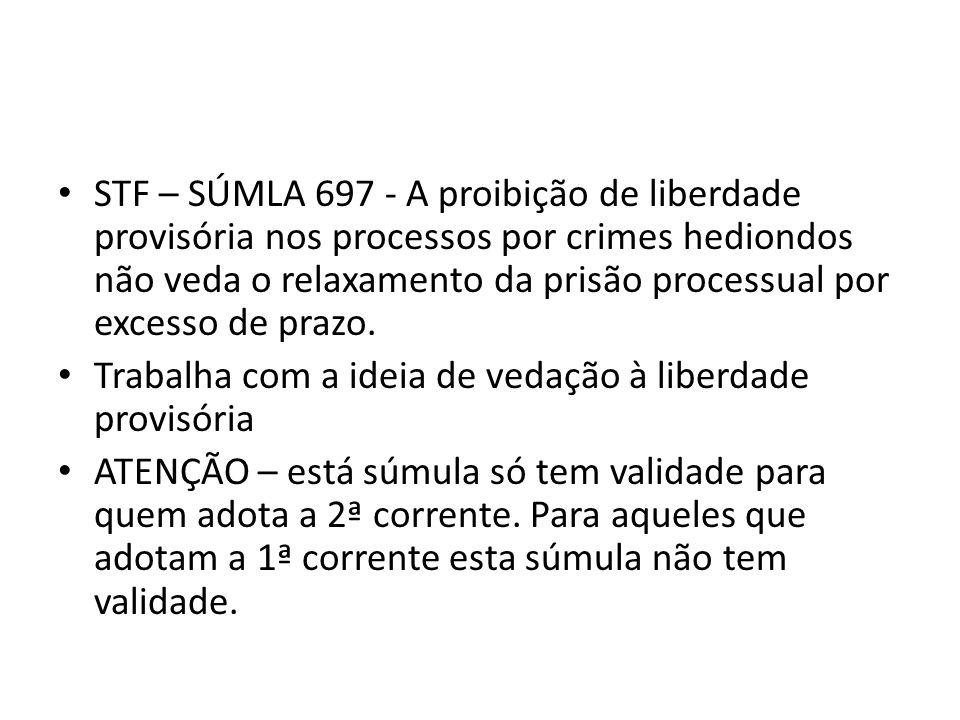 STF – SÚMLA 697 - A proibição de liberdade provisória nos processos por crimes hediondos não veda o relaxamento da prisão processual por excesso de prazo.