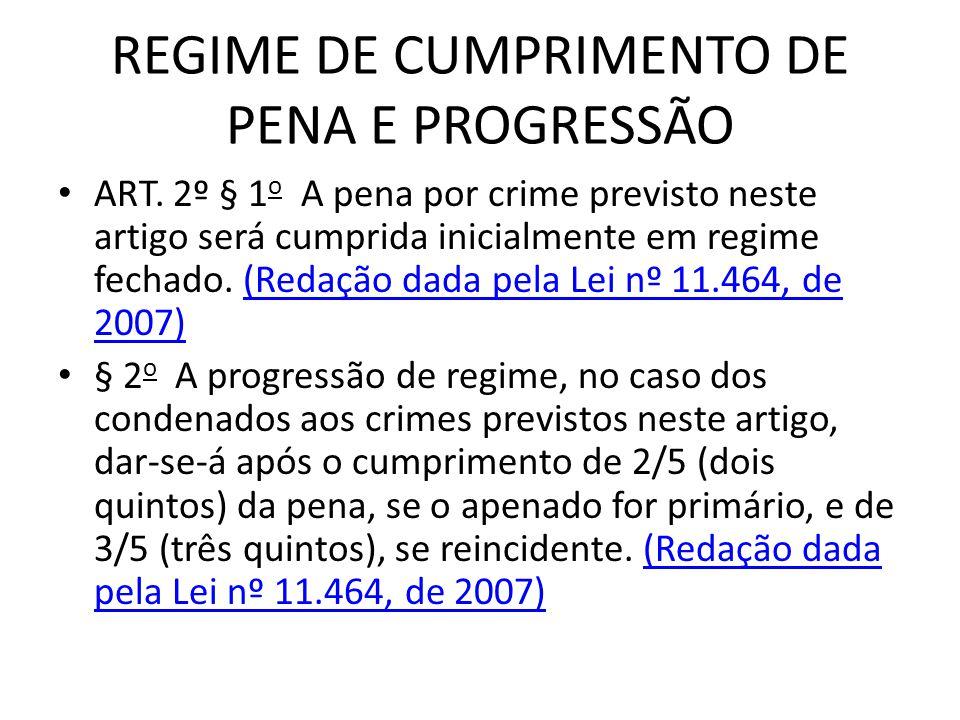 REGIME DE CUMPRIMENTO DE PENA E PROGRESSÃO
