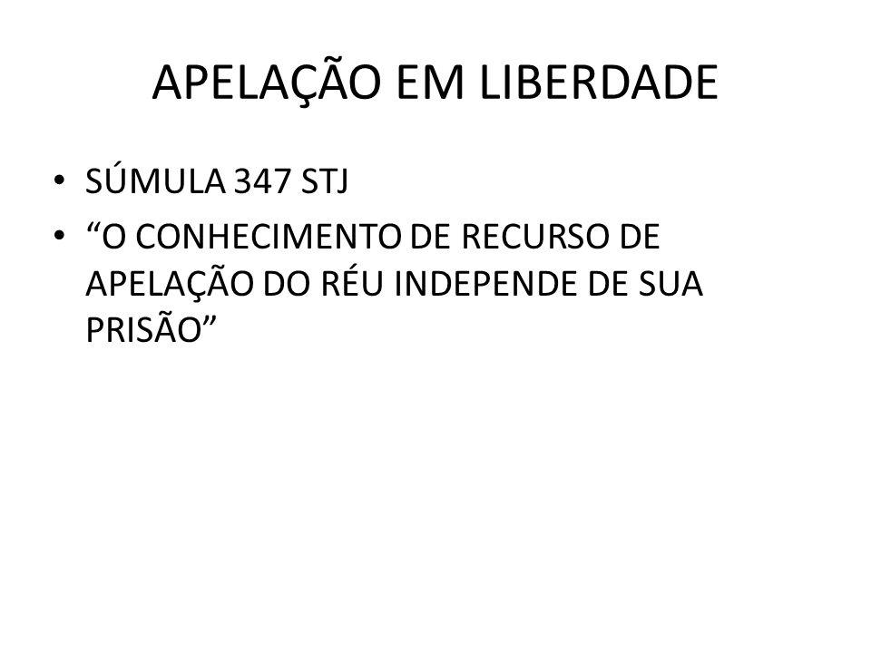 APELAÇÃO EM LIBERDADE SÚMULA 347 STJ