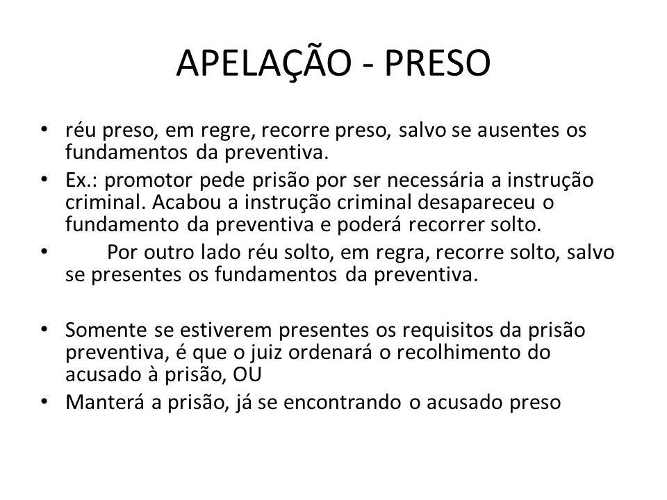 APELAÇÃO - PRESO réu preso, em regre, recorre preso, salvo se ausentes os fundamentos da preventiva.