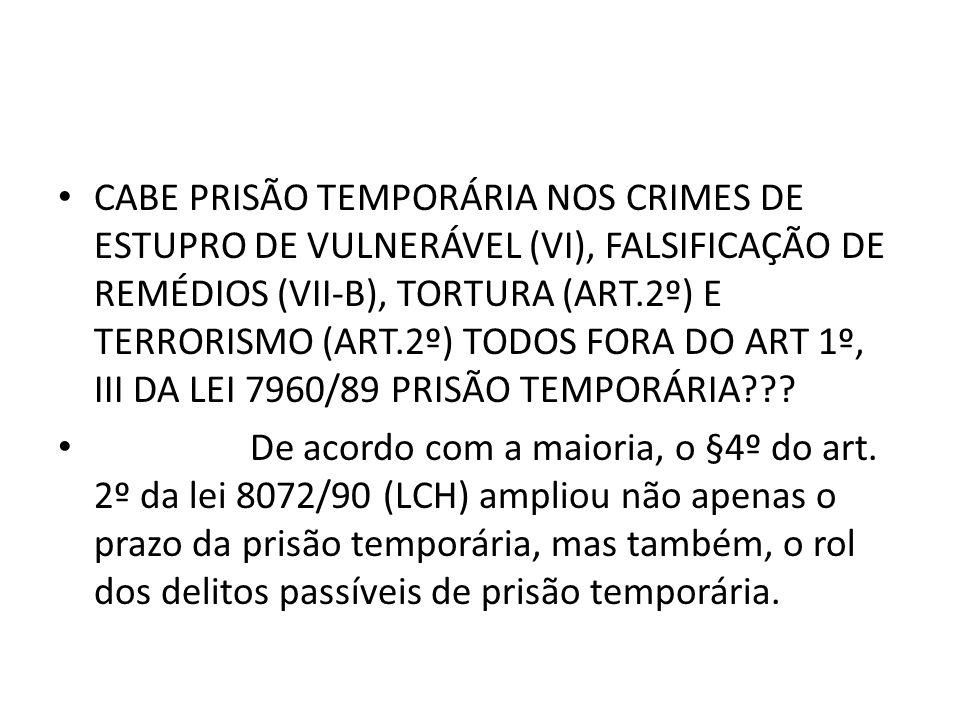 CABE PRISÃO TEMPORÁRIA NOS CRIMES DE ESTUPRO DE VULNERÁVEL (VI), FALSIFICAÇÃO DE REMÉDIOS (VII-B), TORTURA (ART.2º) E TERRORISMO (ART.2º) TODOS FORA DO ART 1º, III DA LEI 7960/89 PRISÃO TEMPORÁRIA