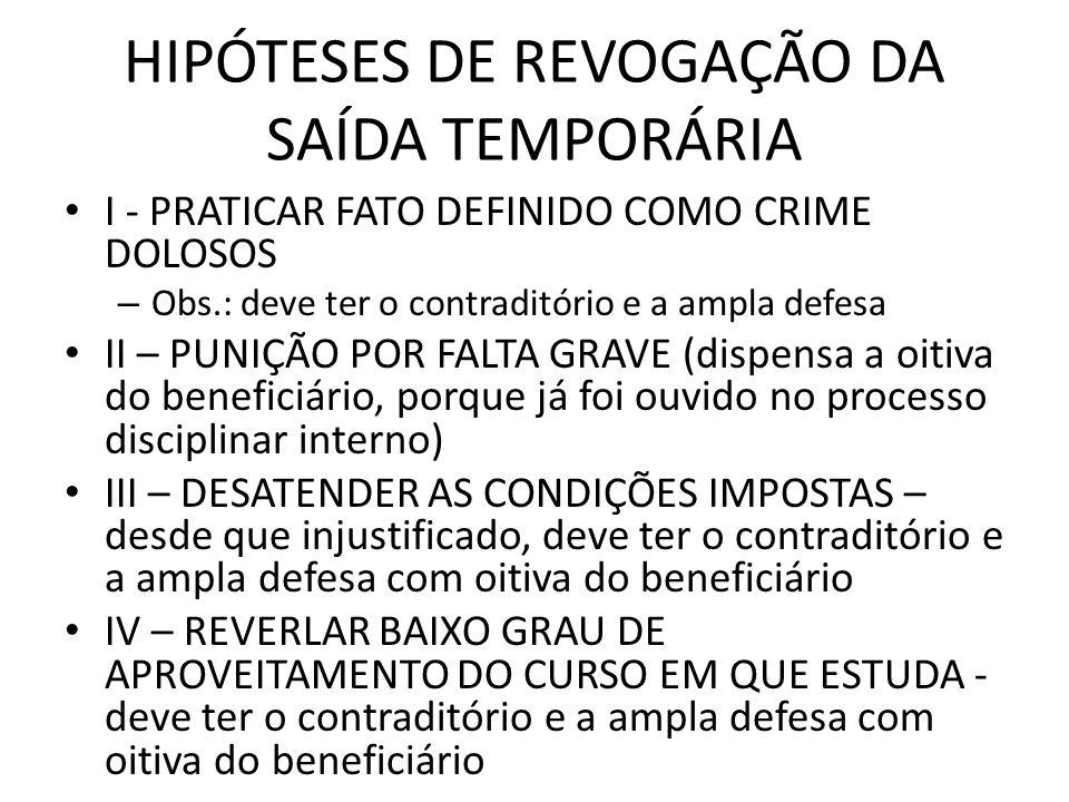 HIPÓTESES DE REVOGAÇÃO DA SAÍDA TEMPORÁRIA