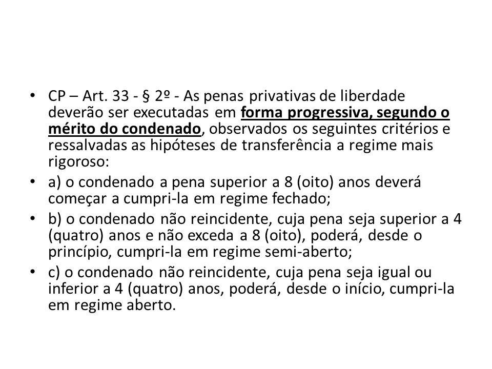 CP – Art. 33 - § 2º - As penas privativas de liberdade deverão ser executadas em forma progressiva, segundo o mérito do condenado, observados os seguintes critérios e ressalvadas as hipóteses de transferência a regime mais rigoroso: