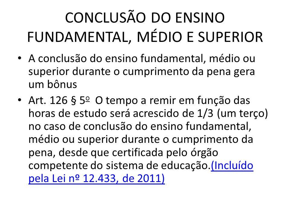 CONCLUSÃO DO ENSINO FUNDAMENTAL, MÉDIO E SUPERIOR