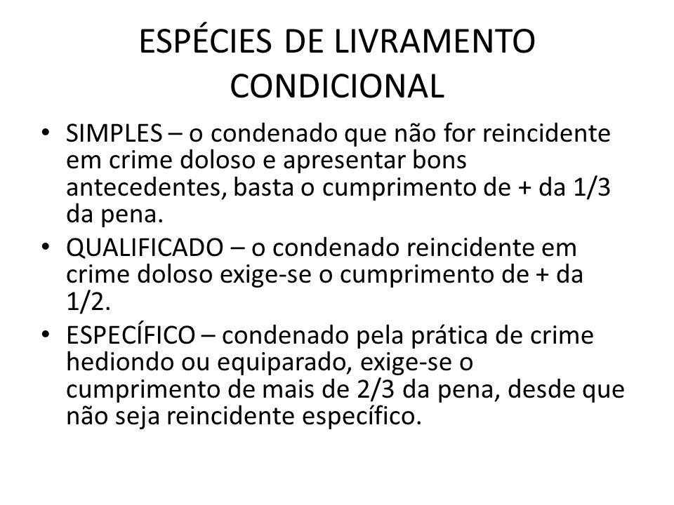 ESPÉCIES DE LIVRAMENTO CONDICIONAL