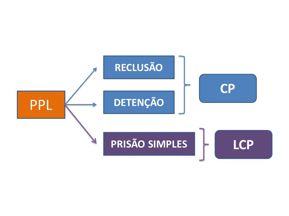 RECLUSÃO CP PPL DETENÇÃO LCP PRISÃO SIMPLES