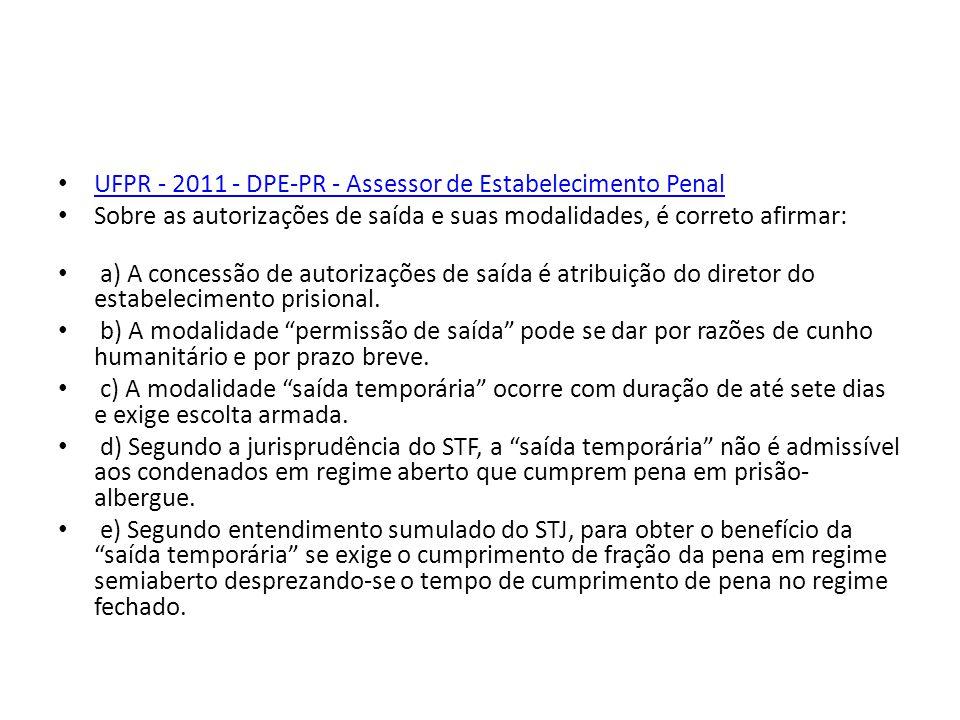 UFPR - 2011 - DPE-PR - Assessor de Estabelecimento Penal