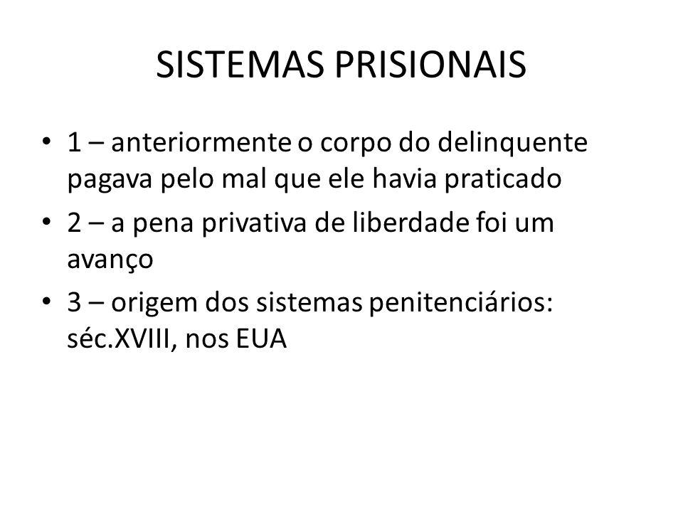 SISTEMAS PRISIONAIS 1 – anteriormente o corpo do delinquente pagava pelo mal que ele havia praticado.
