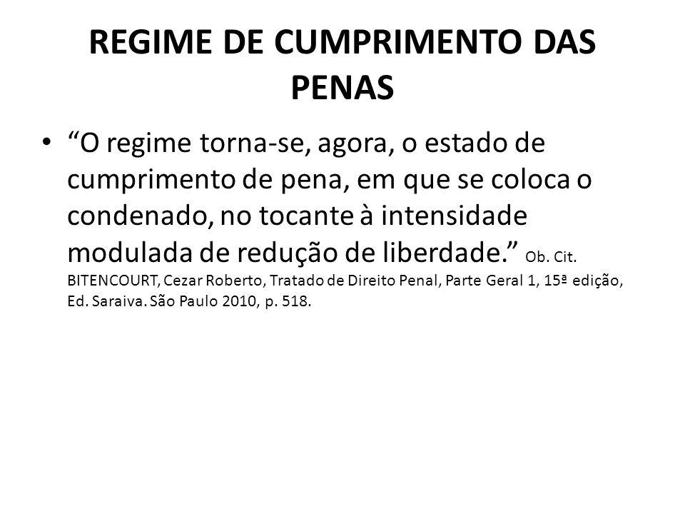 REGIME DE CUMPRIMENTO DAS PENAS