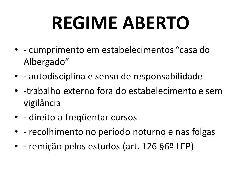 REGIME ABERTO - cumprimento em estabelecimentos casa do Albergado