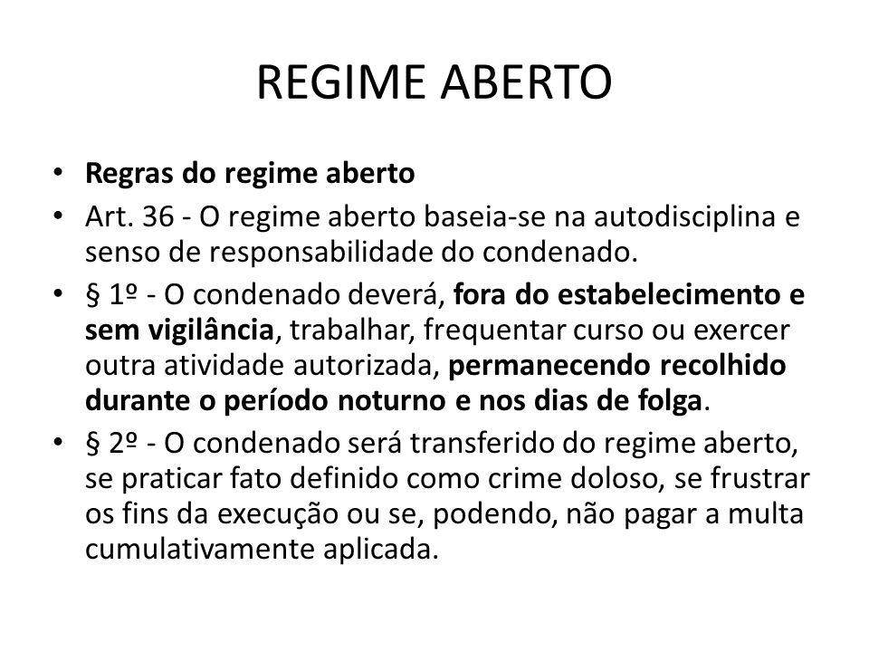 REGIME ABERTO Regras do regime aberto