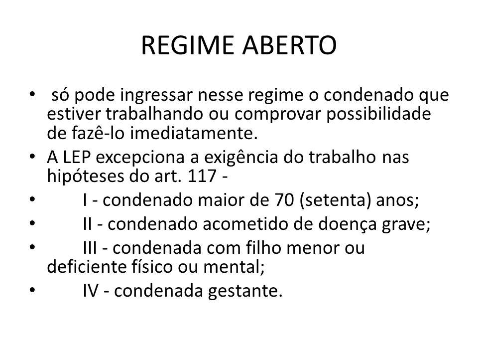 REGIME ABERTOsó pode ingressar nesse regime o condenado que estiver trabalhando ou comprovar possibilidade de fazê-lo imediatamente.