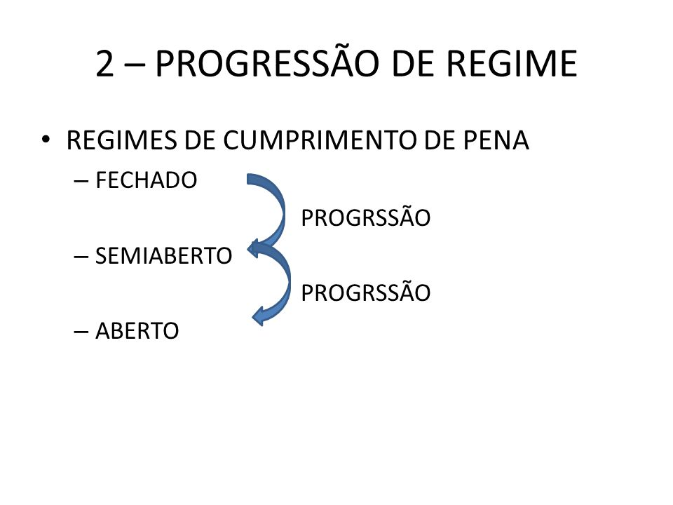 2 – PROGRESSÃO DE REGIME REGIMES DE CUMPRIMENTO DE PENA FECHADO