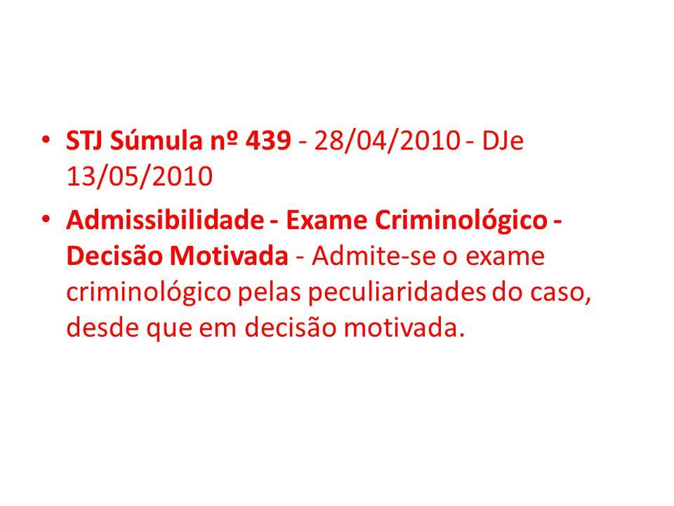STJ Súmula nº 439 - 28/04/2010 - DJe 13/05/2010
