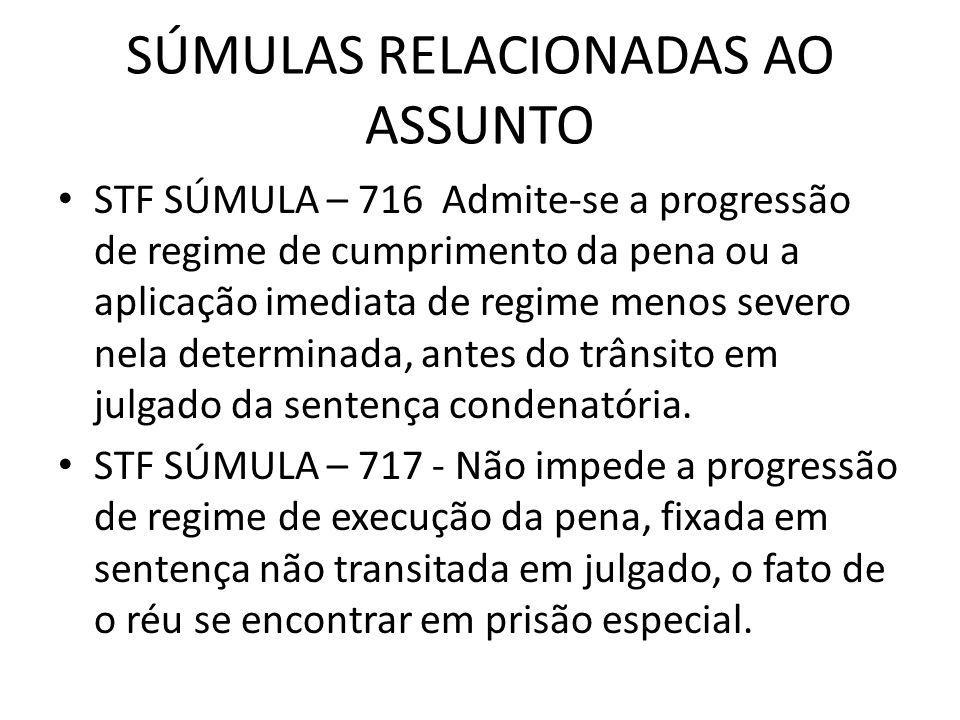 SÚMULAS RELACIONADAS AO ASSUNTO