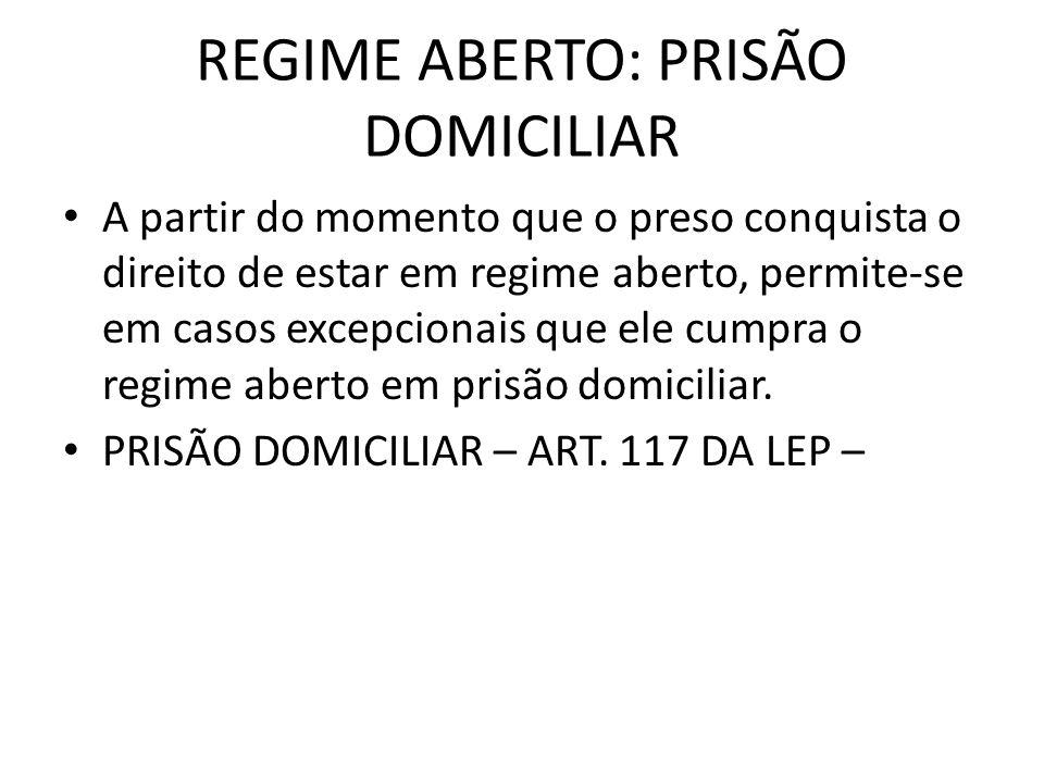 REGIME ABERTO: PRISÃO DOMICILIAR