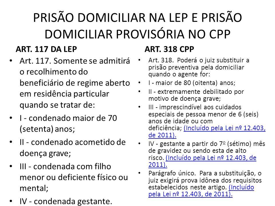 PRISÃO DOMICILIAR NA LEP E PRISÃO DOMICILIAR PROVISÓRIA NO CPP