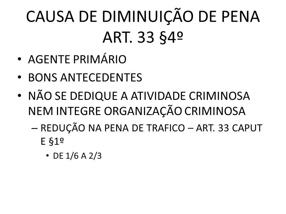 CAUSA DE DIMINUIÇÃO DE PENA ART. 33 §4º