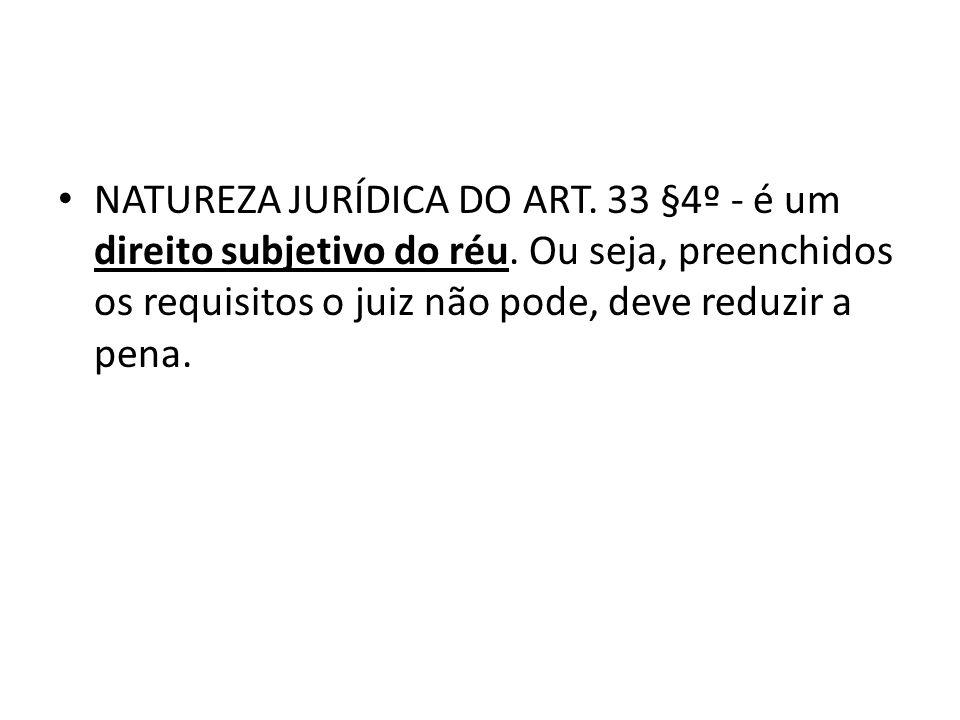 NATUREZA JURÍDICA DO ART. 33 §4º - é um direito subjetivo do réu