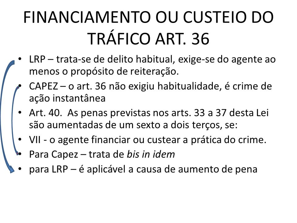 FINANCIAMENTO OU CUSTEIO DO TRÁFICO ART. 36