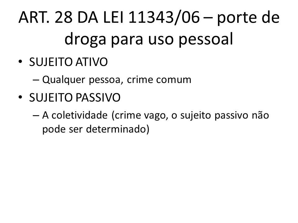 ART. 28 DA LEI 11343/06 – porte de droga para uso pessoal