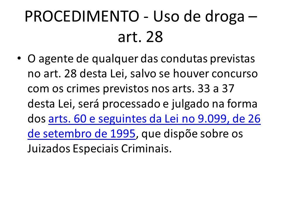 PROCEDIMENTO - Uso de droga – art. 28