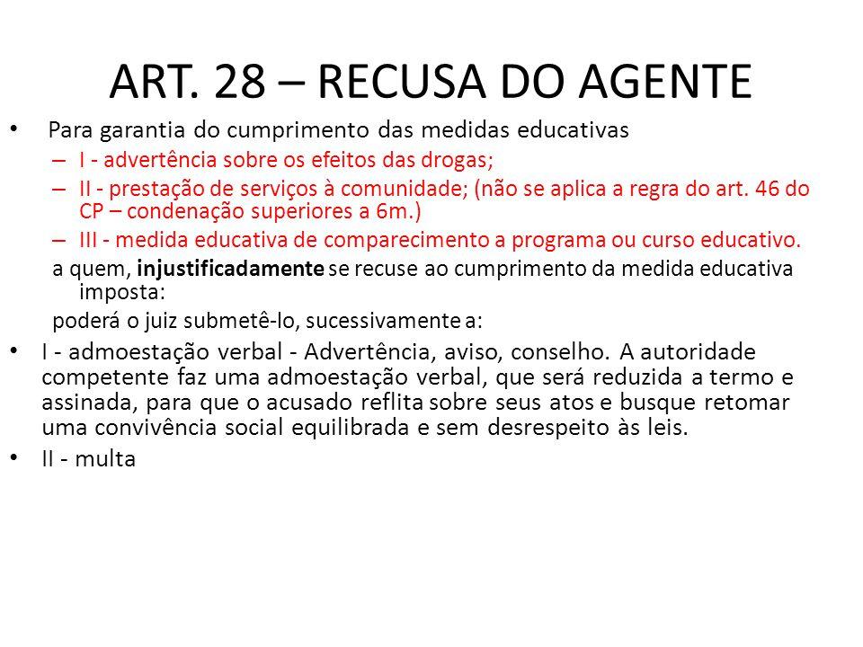 ART. 28 – RECUSA DO AGENTE Para garantia do cumprimento das medidas educativas. I - advertência sobre os efeitos das drogas;