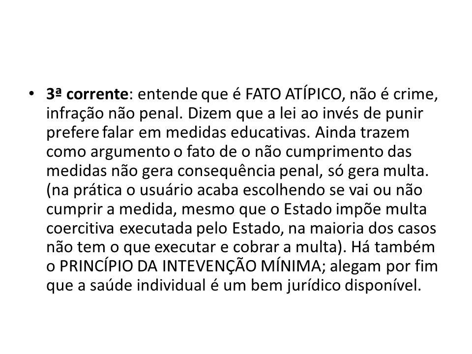 3ª corrente: entende que é FATO ATÍPICO, não é crime, infração não penal.