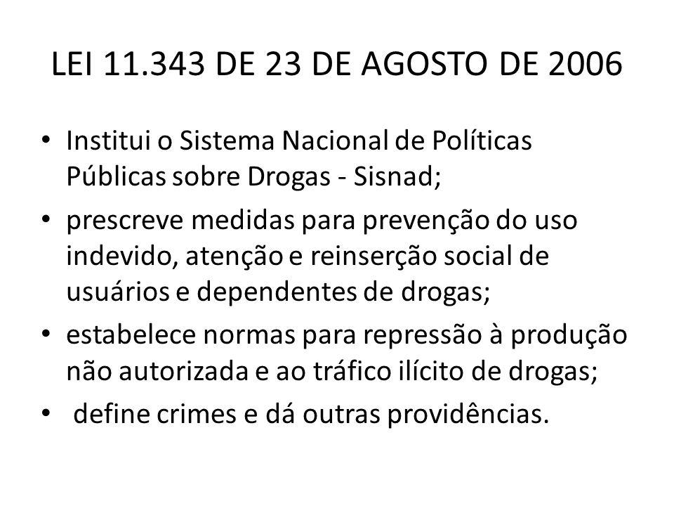 LEI 11.343 DE 23 DE AGOSTO DE 2006 Institui o Sistema Nacional de Políticas Públicas sobre Drogas - Sisnad;