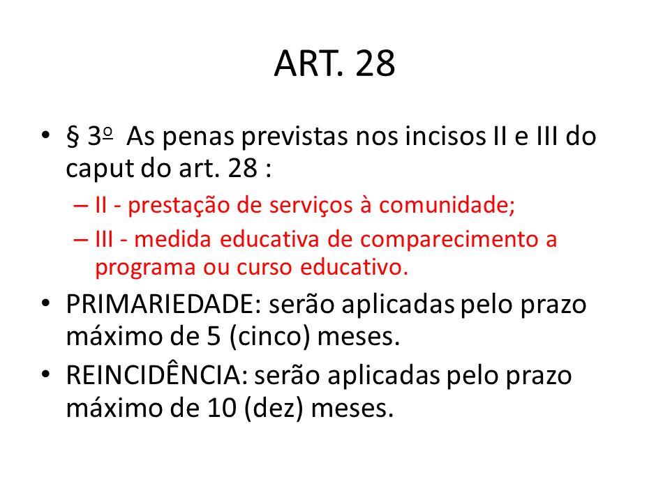 ART. 28 § 3o As penas previstas nos incisos II e III do caput do art. 28 : II - prestação de serviços à comunidade;