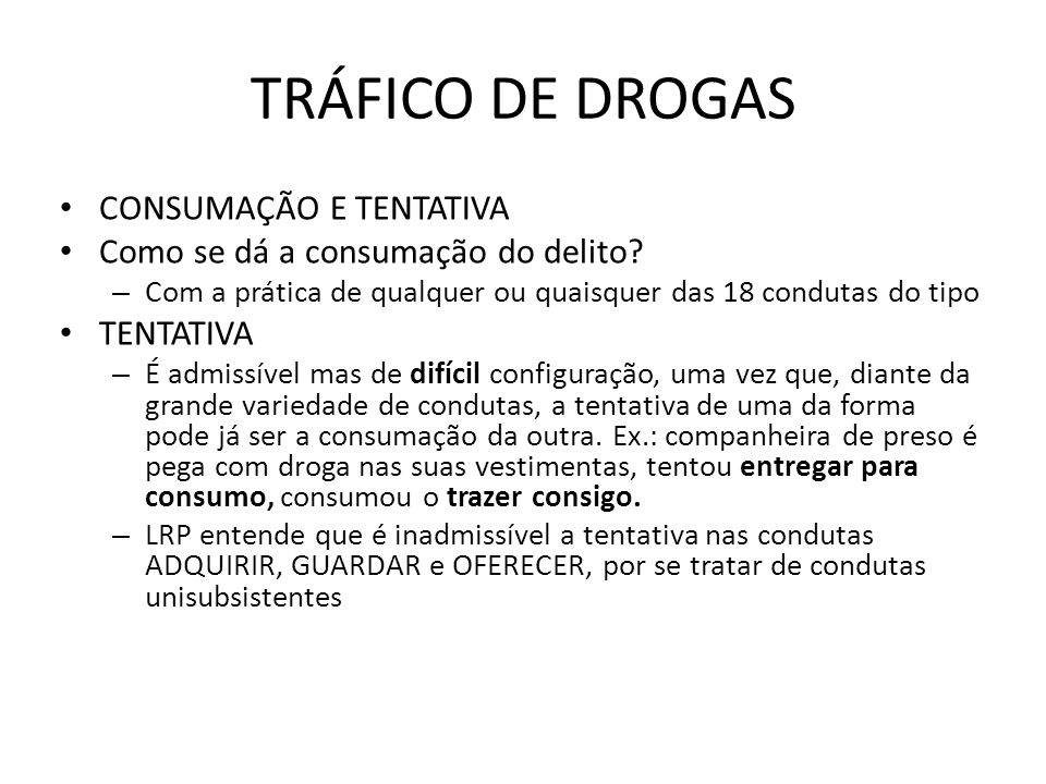 TRÁFICO DE DROGAS CONSUMAÇÃO E TENTATIVA