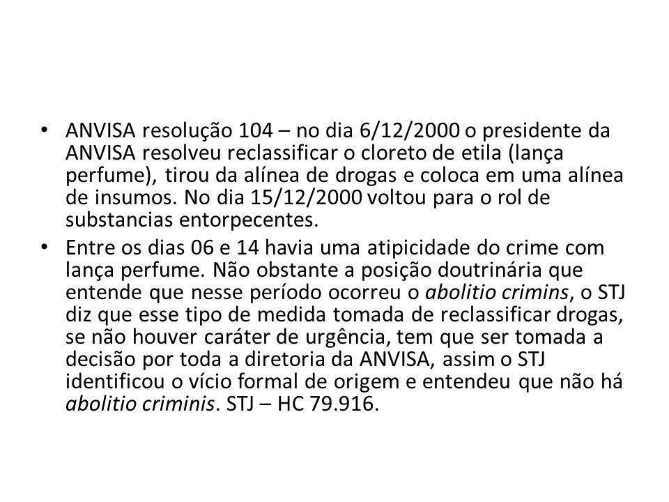 ANVISA resolução 104 – no dia 6/12/2000 o presidente da ANVISA resolveu reclassificar o cloreto de etila (lança perfume), tirou da alínea de drogas e coloca em uma alínea de insumos. No dia 15/12/2000 voltou para o rol de substancias entorpecentes.