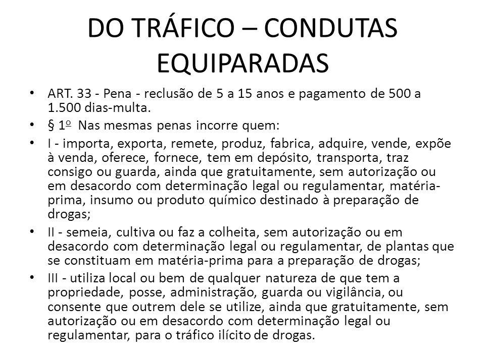 DO TRÁFICO – CONDUTAS EQUIPARADAS