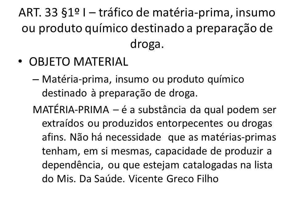 ART. 33 §1º I – tráfico de matéria-prima, insumo ou produto químico destinado a preparação de droga.