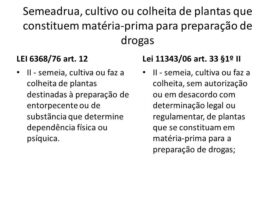 Semeadrua, cultivo ou colheita de plantas que constituem matéria-prima para preparação de drogas