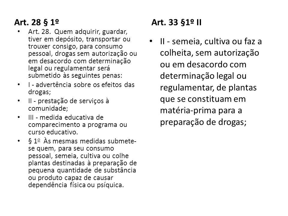 Art. 28 § 1º Art. 33 §1º II.