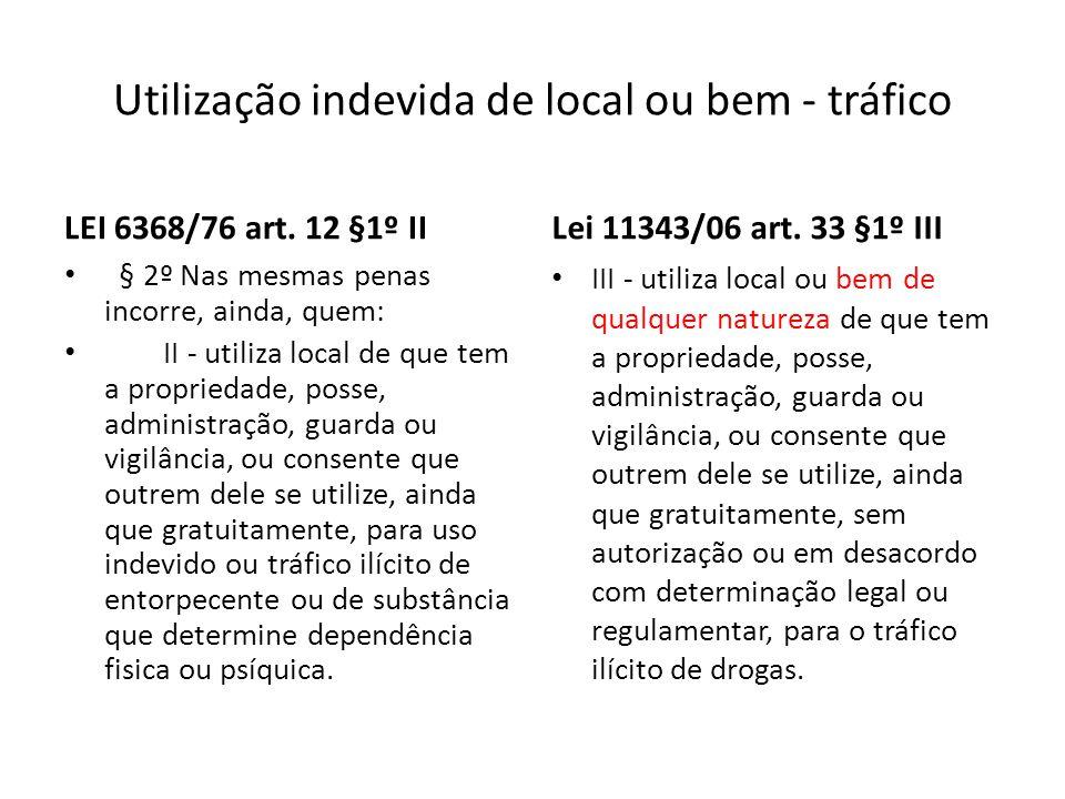 Utilização indevida de local ou bem - tráfico